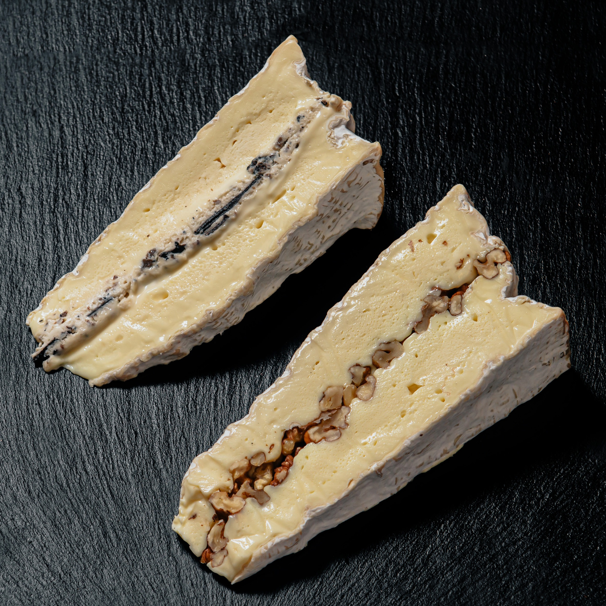 Double brie stuffed with walnuts